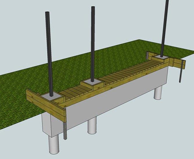 Фундамент под кирпичные столбы ворот и калитки