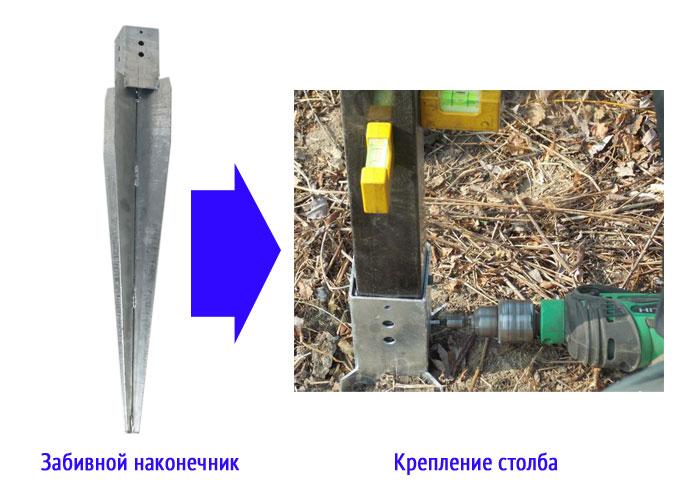 Забивной наконечник и столб