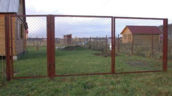 Ворота из сетки рабицы разного типа — делаем своими руками