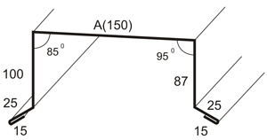 Схема загиба листового железа при изготовлении парапета