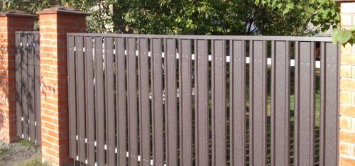Забор из евроштакетника с верхней планкой
