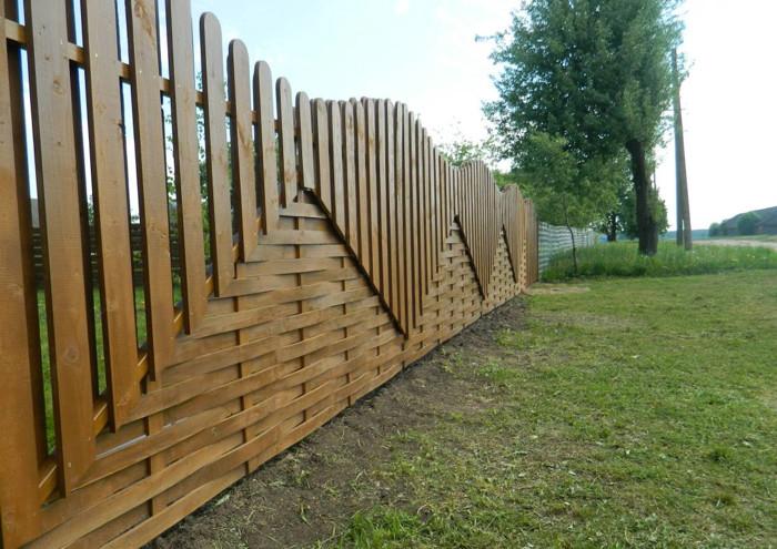 Забор из штакетника - плетень + шахматка