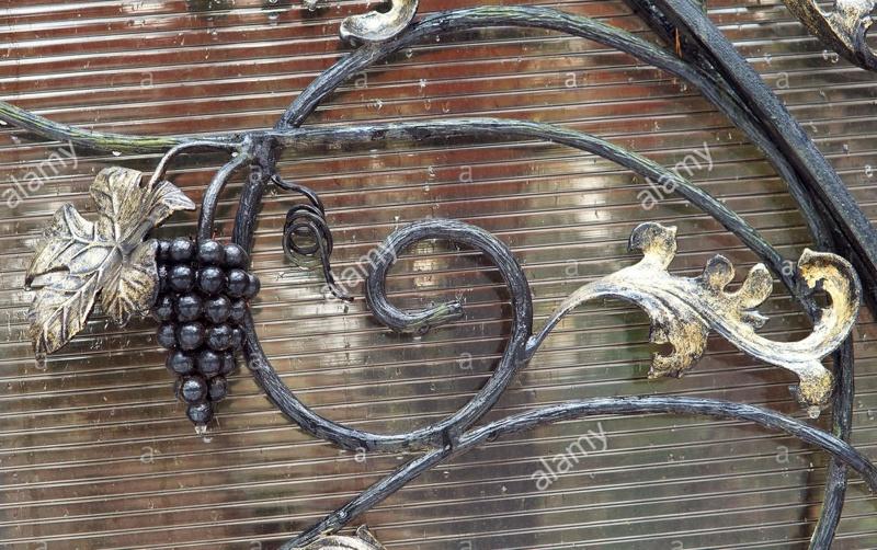 Кованое украшение ворот в виде грозди винограда и листьев